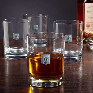 Regal Crest Personalized Whiskey Glasses, Set of 4