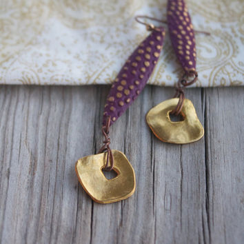 CLEARANCE: Purple and Gold Artsy Earrings - Purple and Gold Earrings - Abstract Square - Polka Dots - Dark Purple - Boho - Tribal - Hippie