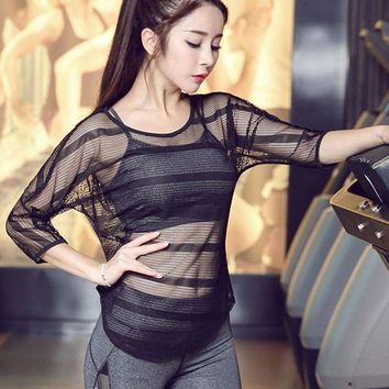 Yoga Shirts Mesh Women Breathable Hollow Out Quick Drying Shirt Activewear