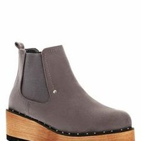 Faux Wooden Wedge Grey Chelsea Boots