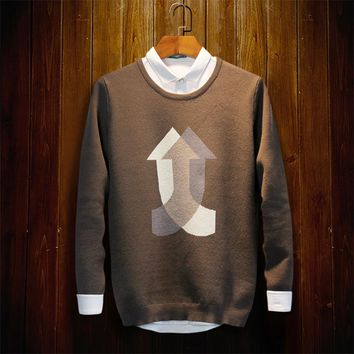 Royal-Infinity: Men's sweater knit sweater Arrow pattern