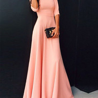 2016 Coral Long Satin Modest Bridesmaid Dresses With Half Sleeves A-line Floor Length Wedding Party Guests Dresses Modest Cheap