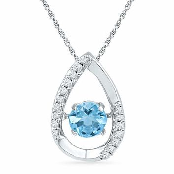 10kt White Gold Women's Round Lab-Created Blue Topaz Solitaire Teardrop Pendant 3-4 Cttw - FREE Shipping (US/CAN)