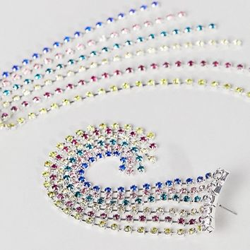 ASOS DESIGN earrings with rainbow crystal drop design in silver at asos.com