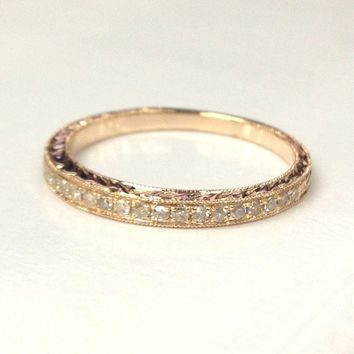 Diamond Wedding Ring,14K Rose Gold,MilgrainPave set,Round Cut Diamond,Half Eternity Matching Band,Anniversary Fine Ring,Stackable,Filigree