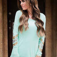Sequins Elbow Brushed Chevron Tunic Mint