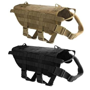 Dog Harness Vest for Walking Hiking Hunting Tactical Military Water-Resistant MOLLE Training Harness for Service Dog