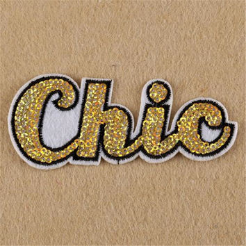 Hot sale women/men/boy/girl clothes embroidery letter patch fashion sequins chic badge iron on patches for clothing stick fabric