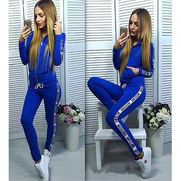''MOSCHINO'' Fashion Hoodie Top Sweater Pants Trousers Set Two-piece Sportswear Dark blue