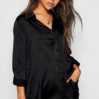 Woven Oversized Long Sleeve Shirt | Boohoo