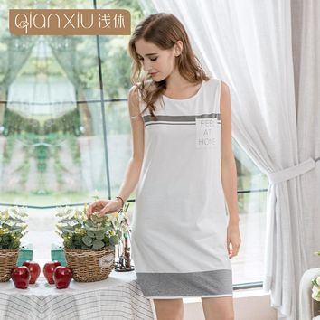 Qianxiu woman sleeveless sleepwear round neck knit cotton splicing sexy nightgown for women simple pure color casual nightdress