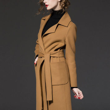 Thick Belted Lapel Double Pocket Collared Wool Coat