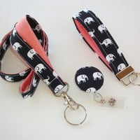 Lanyard ID Badge Holder - retractable Reel - Key FOB / KeyChain / Wristlet Set - White elephants on black with coral coworker gift under 25