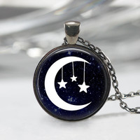 Moon And Star Glass Pendant, Moon And Star Pendant, Moon Charm,Star And Moon Art Pendant