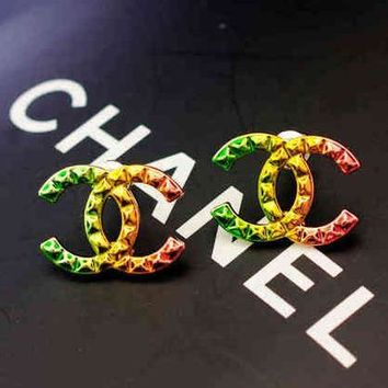 Chanel Woman Fashion CC Logo Multicolor Stud Earring Jewelry
