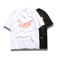 OFF-WHITE Tide brand couple personality magic hand print short-sleeved T-shirt