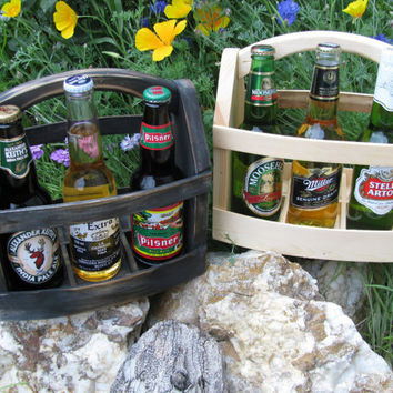 Two handmade Beer bottle six pack carrier Wood beer box 6 pack carrier Beer boat.