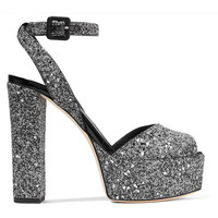 Giuseppe Zanotti - Betty glittered leather platform sandals