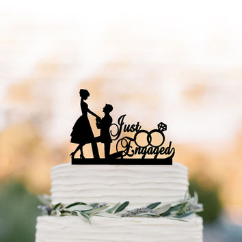 Just Engaged Wedding Cake topper funny, bride and groom cake topper with wedding rings, unique custom cake topper for wedding