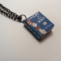 The Cat In The Hat by Dr. Seuss Miniature Book Pendant Necklace