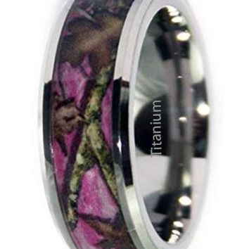 CERTIFIED 8mm Wedding Rings by Pink Camo Promise Rings - Beveled Ring
