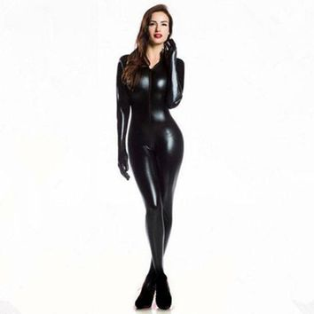 ESB1ON Plus XXL Size Wome's 2way zipper Faux Leather Catsuit Clubwear DS Latex Cat Women With Gloves Fancy Costume Jumpsuit