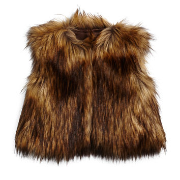 Cropped Faux-Fur Vest, Brown, Size 4-14,