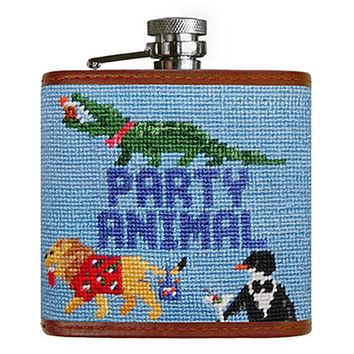 Party Animal Needlepoint Flask in Light Blue by Smathers & Branson