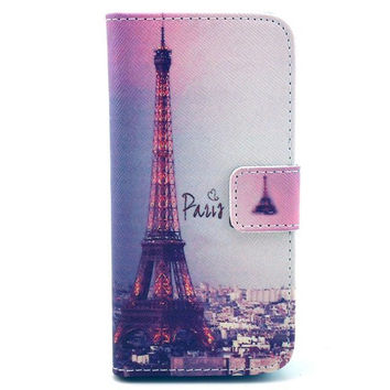 Leather Iphone 5C Flip Case Card Holder (Pink Paris)