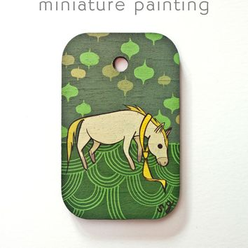 Horse Miniature Painting by Susie Ghahremani