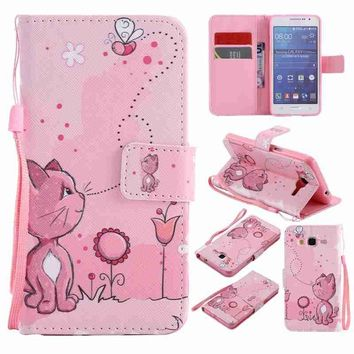 Cartoon Kitten and Bee Painted Pattern Flip Cover Holster PU Leather Wallet Card Slots Holder Protection Mobile Phone Bag Case F