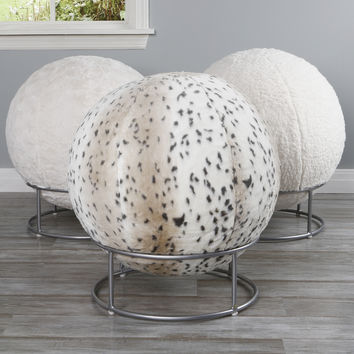 Faux Fur 65cm Yoga Ball Chair