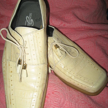 vtg Men's Giorgio Brutini Private Collection off white tassel lacers Shoes Size 10 m