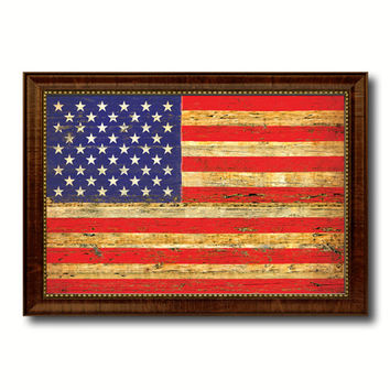 American Flag United States of America Vintage Canvas Print with Brown Picture Frame Home Decor Man Cave Wall Art Collectible Decoration Artwork Gifts