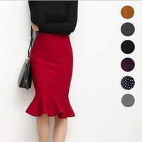 High waist ruffles skirts woman hip trumpet skirt