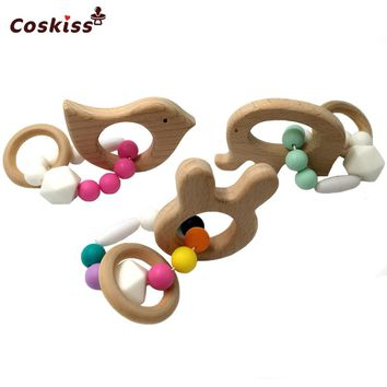 Baby Teether Wooden Baby Bracelet Animal Shaped Mom Kids Jewelry Teething For Baby Organic Wood Silicone Beads Baby Bangle