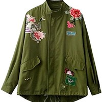 Minetom Women Casual Zip Up Jacket Army Green Solid Color Flower Birds Embroidery Coat Slimming Tops Street Style