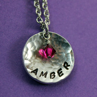 Personalized Name Necklace -  Hammered Domed Name Necklace with Brithstone