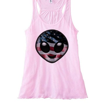 American Alien Emoji Women's Flowy Tanktop | Fourth of July Top 4th of July Tees Tanks Hoodies and more | July 4 Shirts and Tank Tops