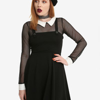 Black Fishnet Long-Sleeved Collared Jumper Dress
