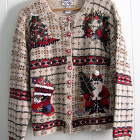 Pretty Ugly Christmas Sweater Cardigan Knit Santa Large