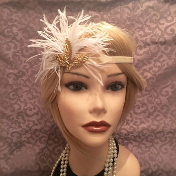 1920's velvet cream ivory gold leaf design gatsby flapper headband headpiece band beaded ostrich feather white 20s 1920 bridal (688)