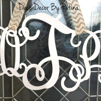 Monogram Door Hanger - 3 Letter Monogram Door Hanger - 3 Letter Monogram - Monogram Wreath - Monogam Decor - Wedding Gift