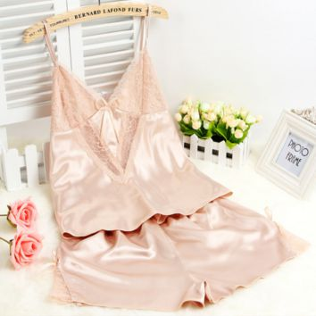 HOT Home dress lace and fresh PAJAMAS TWO PIECE SUIT
