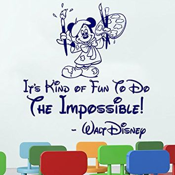 Wall Decals Quotes Vinyl Sticker Decal Quote Walt Disney Mickey Mouse It's Kind of Fun To Do The Impossible Nursery Baby Room Kids Boys Girls Home Decor Bedroom Art Design Interior C74