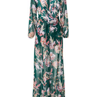 Green Tropical Floral Print Maxi Skirt Overlay Romper