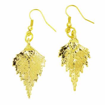 Real Leaf Hook Drop EARRINGS BIRCH Leaf Dipped in 24K Yellow Gold