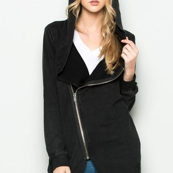 Black Long Sleeve Jacket Two Way Long Cardigan Jacket