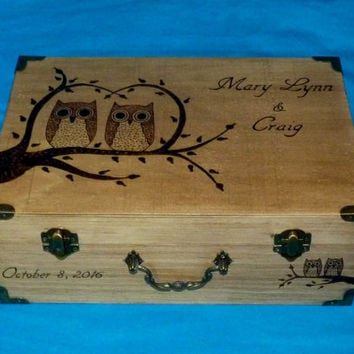 Rustic Wooden Wedding Box Custom Suitcase Wood Burned Wedding Tree Keepsake Card Trunk Personalized Decoration Willow Owls Love Birds Gift