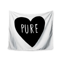 "Leah Flores ""Pure Heart"" Black White Wall Tapestry"
